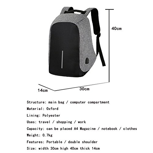 RDJM Multifunktions-Laptop-Rucksack Mit USB-Ladeanschluss Nylon Anti-Diebstahl-Tagesrucksack Strapazierfähige Business-Reisetasche, Geeignet Für Männer Und Frauen Purple
