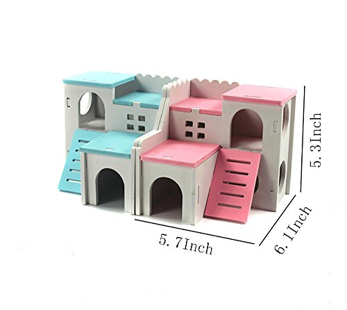 Picture of Kathson Wooden Hamster House Hideout Hut Rat Hideaway Exercise Toys for for Small Animals Like Dwarf Hamster and Mouse (Blue)