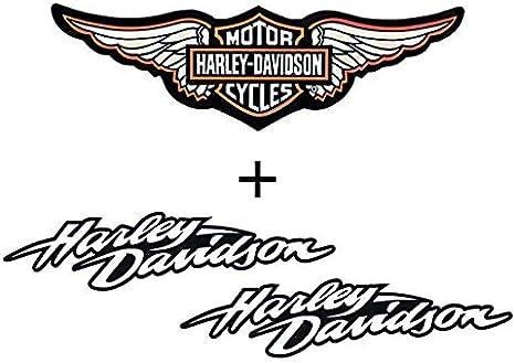 Pack de 2 Stickers r/étro r/éfl/échissant pour Casque Harley Davidson lat/éraux