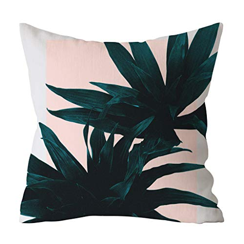 OrchidAmor Green Leaf Printed Pillow Case Polyester Sofa Car Cushion Cover Home Decor ()