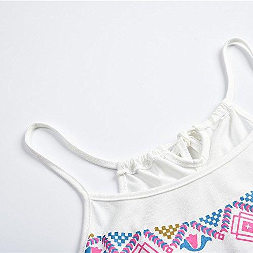 Courte Imprime Blanc sans Sexy Femme Bohme Jupe de Mini Robe Plage Manches Kingwo Robe IzwUqx