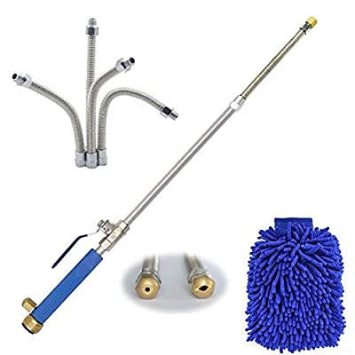 Hydro Jet Power Washer Wand – High Pressure Water Hose Attachment Nozzle, Flexible Glass Cleaner, Extendable Garden Watering Sprayer for Hurricane Storm, Car Wash, Window Washing, 2 Tips 27 Inch