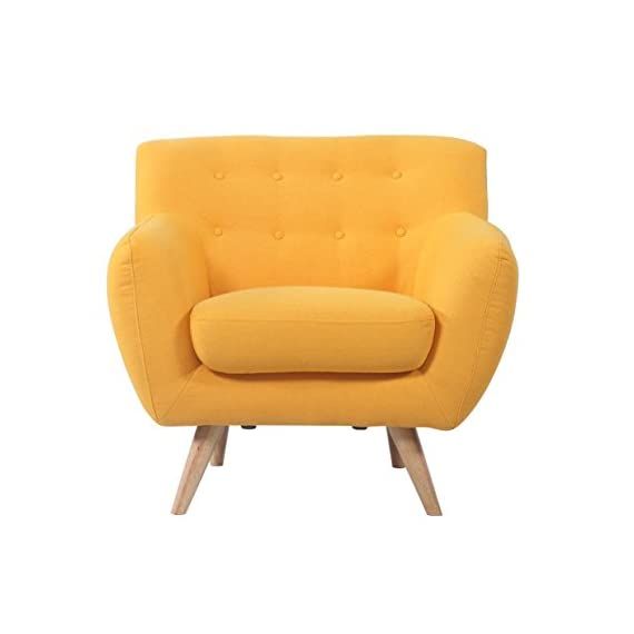 Divano Roma Furniture - Modern Mid Century Accent Chair - Modern Mid Century style chair/loveseat with natural wooden legs. Bright yellow color stands out and gives any room the ultimate look! Carefully selected linen upholstery fabric with beautiful tufted button details. - living-room-furniture, living-room, accent-chairs - 41 p68QestL. SS570  -
