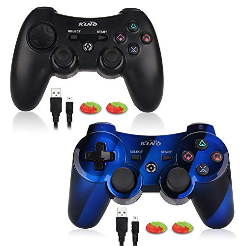 2 Pack Game Controller for PS3 - Wireless Dual Vibration 3 KLNO Sixaxis Gamepad, Best Gifts for Kids, Son and Father in Family Playing with USB Charger Cable, for SONY Playstation 3 (2 pack)