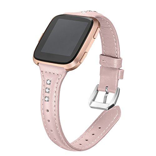 bayite Bands Compatible Fitbit Versa, Slim Genuine Leather Band Replacement Accessories Strap Women Pink w/Rhinestone ()
