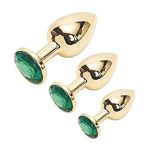 gv(US) NEgvsa-b13 Pcs Sexy Toy Stainless Steel Metal Plated Golden Anal Plug/Butt Plug/Sex Toys for LOVE (Green)