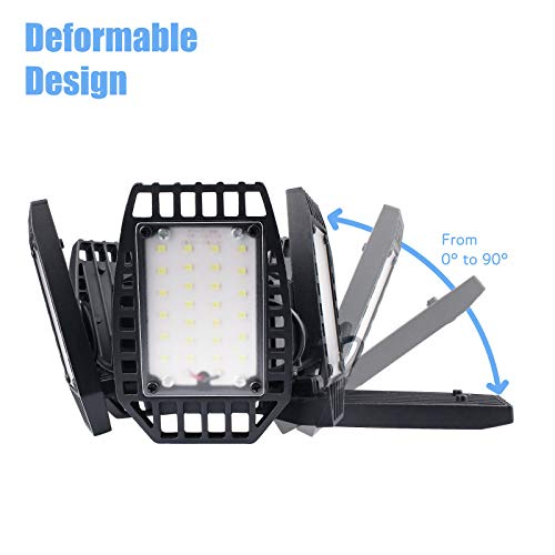 LED Garage Light, Truly 100W LED Garage Lights with 5 Ajustable Panels, 10000LM Deformable Garage LED Light, LED Shop Light for Garage Barn and Shop