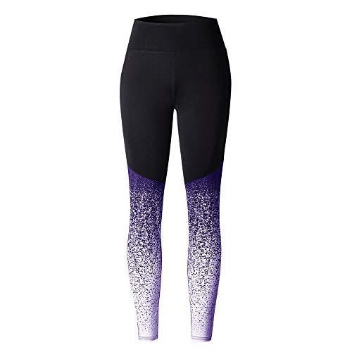 Athletic Leggings, Gillberry Women High Waist Yoga Fitness Leggings Running Gym Stretch Sports Pants Trousers (Purple X, S)