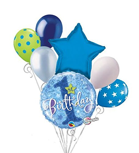 7 pc Happy 1st Birthday Blue Celebration Balloon Bouquet Party Decoration First (Party City Number Balloons)