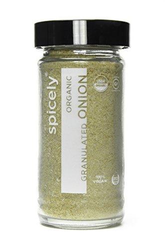 Spicely Organic Onion Granulates - Glass Jar - Gluten Free - Non Gmo - Vegan - Kosher