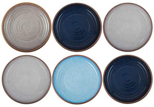 Melange 6-Piece 100% Melamine Salad Plate Set (Clay Collection) | Shatter-Proof and Chip-Resistant Melamine Salad Plates | Color: Pastel Colors