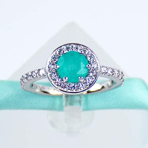 Blue Tourmaline - Blue Paraiba Tourmaline Promise Ring Engagement Ring, 925 Sterling Silver, Platinum Plated
