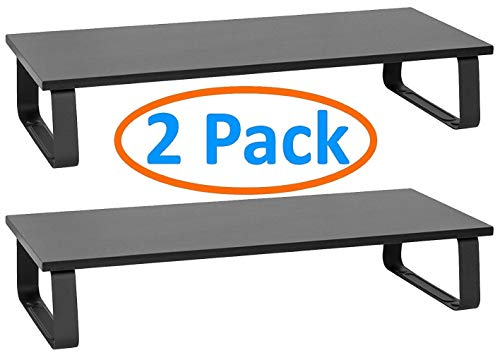 2-Pack Sturdy Stylish Monitor & Laptop Stand for Desk or Table. Vibration Resistant Steel Legs, Strong Construction Holds 44lbs. 15x10.5