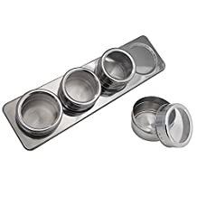 Stainless Steel Magnetic Containers Multipurpose Spice Tin Rack Perfect Kitchen Storage (4piece/set)