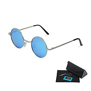 Shushu Jacob Unisex Polarized Sunglasses UV400 Protection 60s Style Round Metal