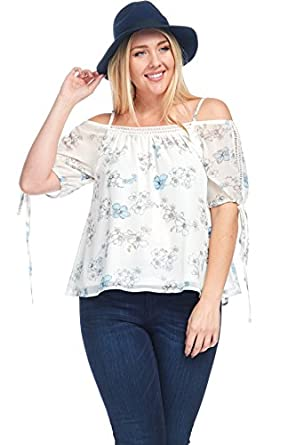 5d339ba7df66e Image Unavailable. Image not available for. Color  Hadari Women s Plus Size  Off Shoulder Chiffon Crochet Blouse Top