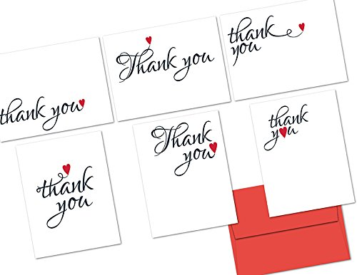 Red Heart Card (72 Thank You Cards - Sweetheart Thank You - 6 Designs - Red Envelopes Included)