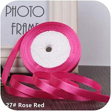 kawayi-桃 25ヤード/ロールグログランサテンリボン結婚式のクリスマスパーティーの装飾6mm-40mm DIY弓クラフトリボンカードギフト-Rose Red-6mm