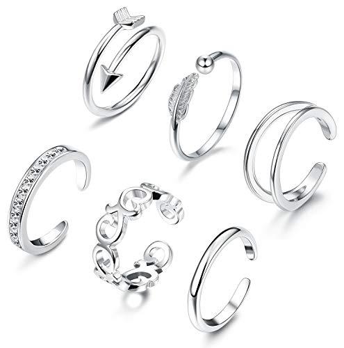 (JOERICA 6 PCS Toe Rings for Women Girls)