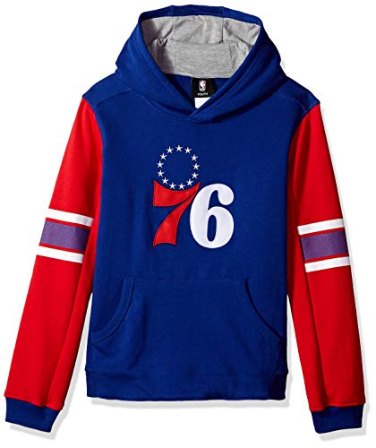 (Outerstuff NBA NBA Youth Boys Philadelphia 76ers Man in Motion Color Blocked Pullover Hoodie, Blue, Youth Small(8))
