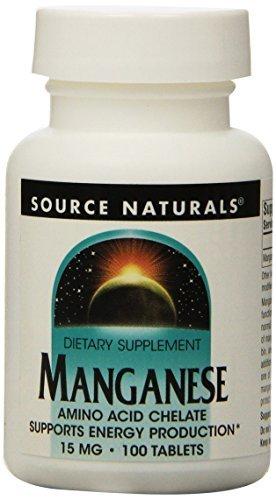 Manganese Natural (Source Naturals Manganese Chelate, 15mg, 100 Tablets (Pack of 2) by Source Naturals)