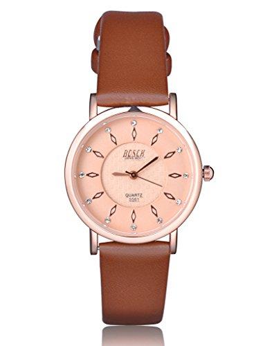 Unendlich U Fashion Klassisch Damen Armbanduhren Braun Zifferblatt Braun PU Leder Armband Wasserdicht Analog Quarz Uhr
