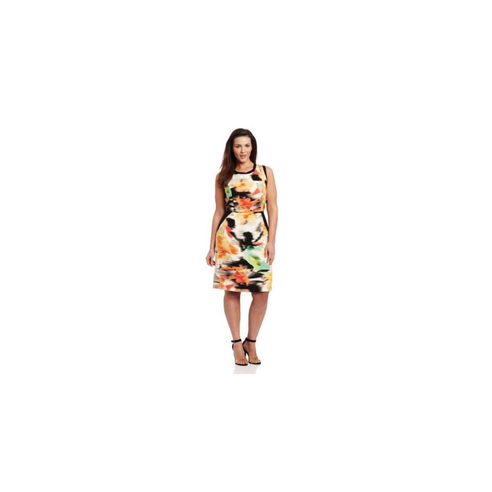 Calvin Klein Womens Colorblock Sheath Dress