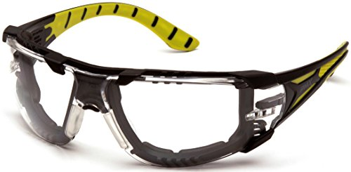Pyramex Endeavor Plus Durable Safety Glasses, Black/Green Foam Frame, Clear Anti-Fog ()