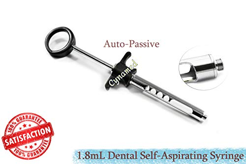 AUTO-Passive Dental ANESTHETIC Syringe 1.8mL SELF-ASPIRATING, HIGH Grade German Steel (CYNAMED) (Anesthetic Syringe)