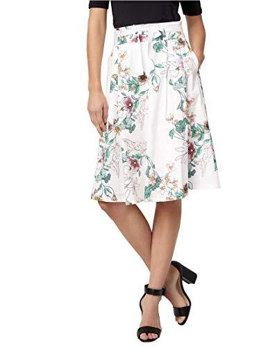 LE CHÂTEAU Floral Stretch Poplin Full Skirt for Women,4,Off - Cotton Poplin Floral Skirt