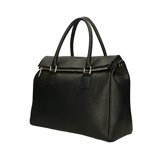 Italy Made femme Cm en in Noir à cuir Sac véritable Aren 37x30x15 main qBAzx0