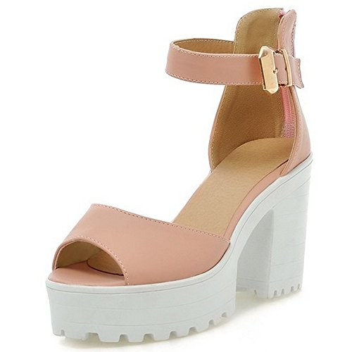 Women's Strap Pink High Platform Sandals Ankle LongFengMa Square Zipper Heel dcpvwcqx