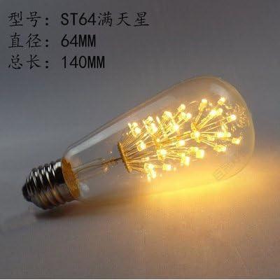 2× Edison Ampoule à filament de tungstène LED Ampoule Tree Super Star Look rétro variateur Sorgente luminosa64,3St, ST64–Super Star–, le chaud couleur