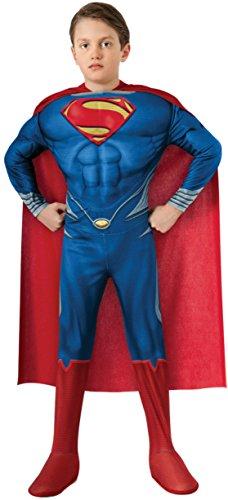 Boys Superman Deluxe Kids Child Fancy Dress Party Halloween Costume, S (4-6) (Superman Fancy Dress Costume)