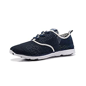 Kenswalk Men's Aqua Water Shoes Lightweight Swim Pool Sailing Quick Drying Beach Shoes(US 10,Deep Blue Men 2017)