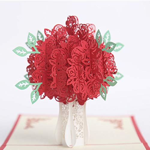 Dreamen valentine's day cards Rose Bouquet pop-up cards craft 3D Greeting Card, mom's birthday Wedding Invitation Card Lovers birthday Couple's Happy Anniversary (Rose Bouquet) -