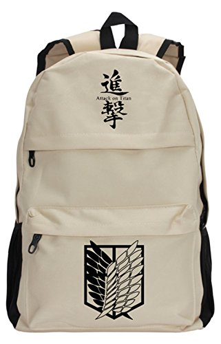 (Gumstyle Attack on Titan Large Capacity Book Bag Laptop Backpack Anime School Bag Khaki 3)