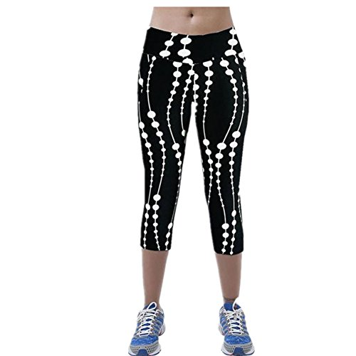 Clearance Sale! Women Pants WEUIE High Waist Fitness Yoga Sport Pants Printed Stretch Cropped Leggings (M, Black)