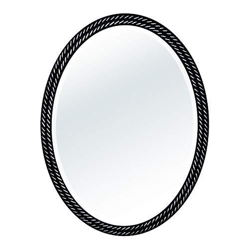 Mirror, Bathroom Bedroom European Retro, PU Frame Oval Wall Mounted, Waterproof Beveled Vanity Mirrors ()