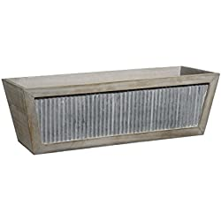 GARDENGOODZ Galvanized Accent Wood Window Box Planter
