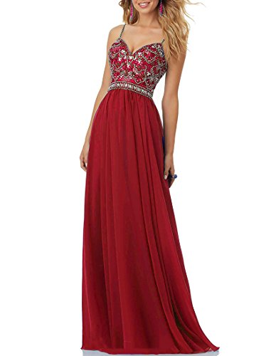 Nicefashion Women's Classic Straps Crystal Beaded Military Ball Dress Bling Prom Gowns Burgundy US8 (Cross Sweetheart Bodice Criss)