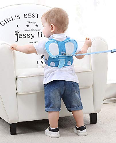 Idefair Kids Harness, Kid Leash Anti Lost Belt Harness Safety Walking Leash for Age 1-5 Years Old Boys and Girls to Disneyland, Mall or Zoo (Elephant Blue)