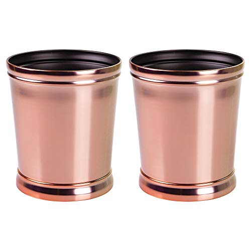 mDesign Decorative Metal Round Small Trash Can Wastebasket, Garbage Container Bin - for Bathrooms, Powder Rooms, Kitchens, Home Offices - Durable Solid Steel, Non-Slip Base - 2 Pack - Rose Gold