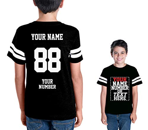 Custom Cotton Jerseys for Youth and Teens - Make Your OWN Jersey T Shirts - Personalized Team Uniforms for Casual Outfit Black
