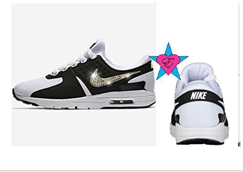 Amazon.com  Custom Crystal Bedazzled Women Air Max Zero Black White Shoes   Handmade bc48ab0428