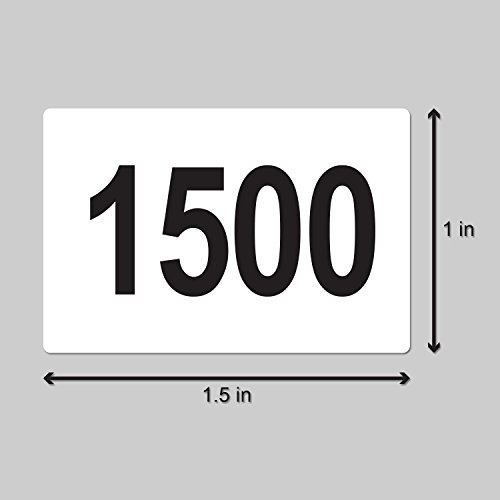 """Consecutive Number Labels Self Adhesive Stickers """"1501 to 2000"""" (White Black / 1.5"""" x 1"""") - 500 labels per package Photo #2"""
