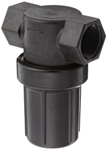 "Banjo LSTM075-50 Polypropylene Mini T-Strainer with Black Bowl, 50 Mesh, 3/4"" NPT Female"