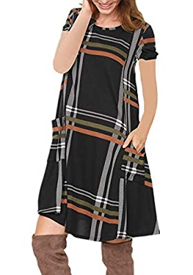Poulax Women's Summer Casual Short Sleeve T Shirt Dresses Loose Plaid Print Tunic Dress with Pockets