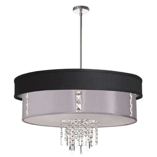 (Dainolite Lighting RITA-31-4-PC-694-834 4-Light Polished Chrome Crystal Pendant with 790 Diffuser, Black/Silver and Steel Shade )