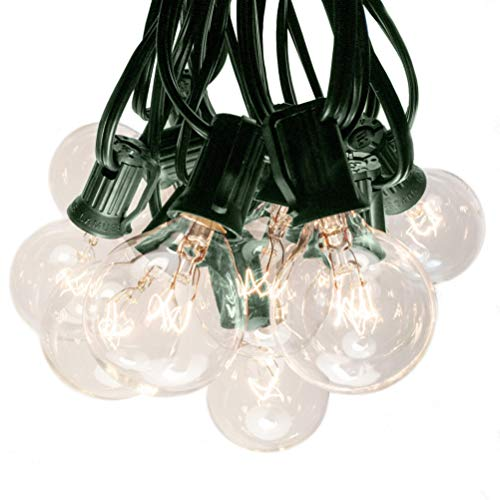 Hometown Evolution, Inc. 50 Foot G40 Globe Patio String Lights with Clear Bulbs (Green Wire)